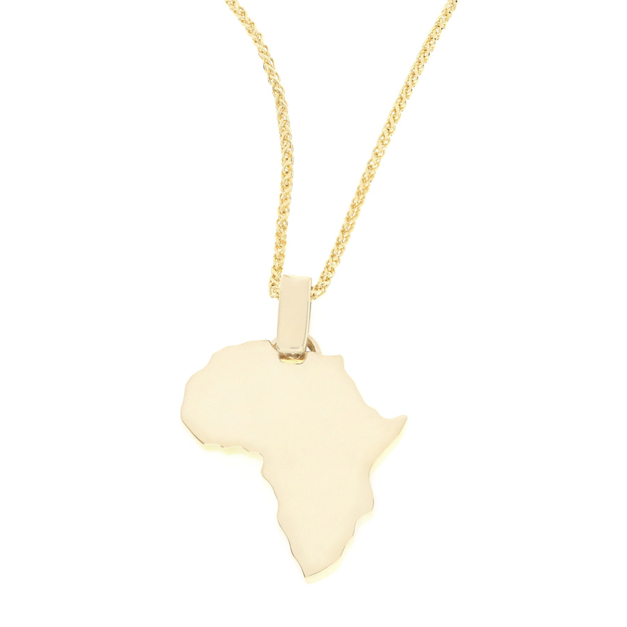 18K Yellow Gold Africa Map Pendant and Chain For Sale by Uwe Koetter