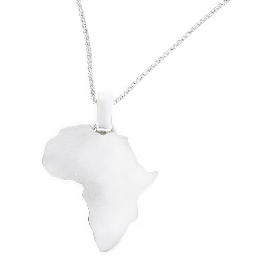 Silver matt africa pendant and chain by uwe koetter jewellers aloadofball Images