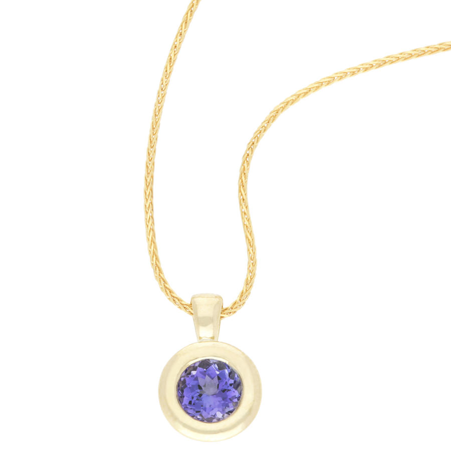 18k yellow gold tanzanite pendant and yellow gold chain for sale by 18k yellow gold tanzanite pendant and yellow gold chain for sale by uwe koetter mozeypictures Gallery