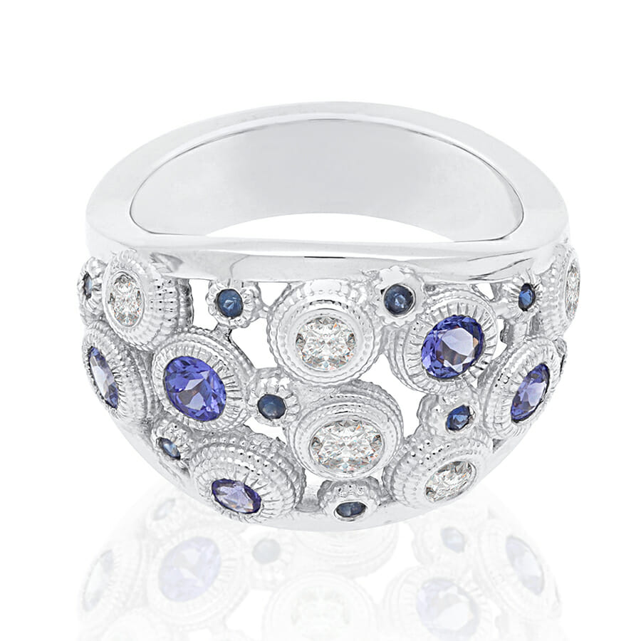 ring couleurs ctw cab ladies products and gold ct white tanzanite cabachon diamond